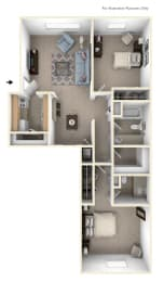 2 Bed 3D Floor Plan at Trappers Cove Apartments, Lansing, MI
