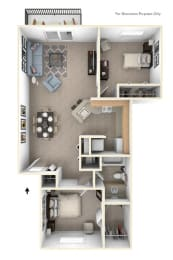 Two Bedroom Alpine Floor Plan at Trappers Cove Apartments, Lansing