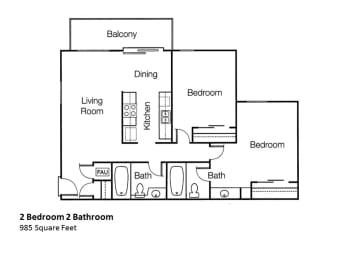 2x2 Two Bedroom Two Bath Floorplan Monte Vista Apartment Homes in La Verne, CA, 91750
