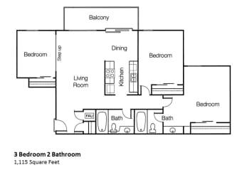 3x2 Three Bedroom Two Bathroom Floor Plan in Monte Vista Apartment Homes in La Verne, 91750