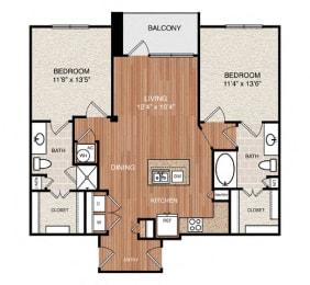 D2 Floor Plan at Berkshire Medical District, Texas, 75219