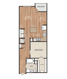 A5 Floor Plan at Berkshire Medical District, Dallas, Texas