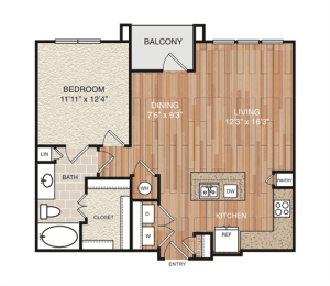 A7 Floor Plan at Berkshire Medical District, Texas