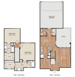 E2 Floor Plan at Berkshire Medical District, Dallas, TX, 75219