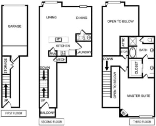 One-Bedroom Floor Plan at Pavilion Townplace, Dallas, TX, 75209