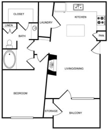 One-Bedroom Floor Plan at Pavilion Townplace, Dallas, 75209