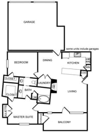 Two-Bedroom, One Bath Floor Plan at Pavilion Townplace, Texas, 75209