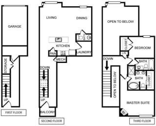 Two-Bedroom Floor Plan at Pavilion Townplace, Dallas, TX, 75209