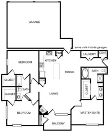 Three-Bedroom Floor Plan at Pavilion Townplace, Dallas
