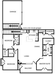 Three-Bedroom Floor Plan at Pavilion Townplace, Texas