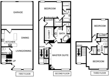 Four-Bedroom Floor Plan at Pavilion Townplace, Dallas, TX
