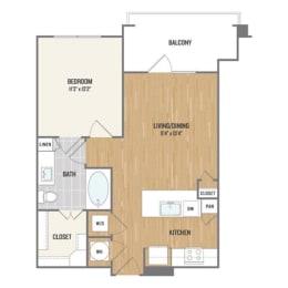 One-Bedroom Floor Plan at Berkshire Amber, Dallas, 75248