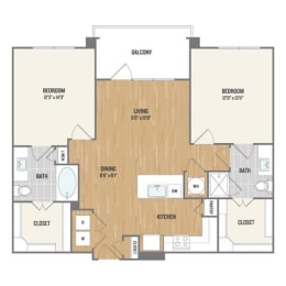 Two-Bedroom Floor Plan at Berkshire Amber, Dallas, TX, 75248