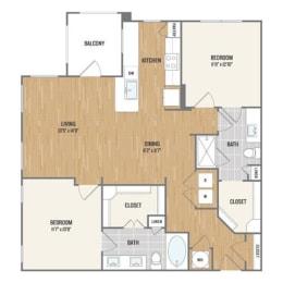 Two-Bedroom Floor Plan at Berkshire Amber, Dallas, TX