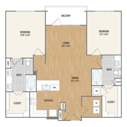Two-Bedroom Floor Plan at Berkshire Amber, Texas