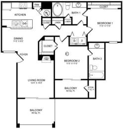 D4 Floor Plan at San Marin, Austin, TX, 78759