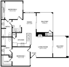 D1 Floor Plan at San Marin, Austin, 78759