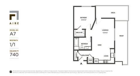 A7 Floor Plan at Aire, San Jose, CA