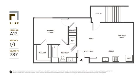 A13 Floor Plan at Aire, San Jose, CA, 95134