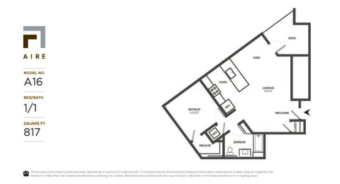 A16 Floor Plan at Aire, San Jose, 95134