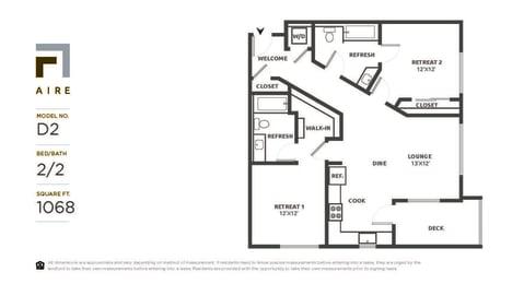 D2 Floor Plan at Aire, California