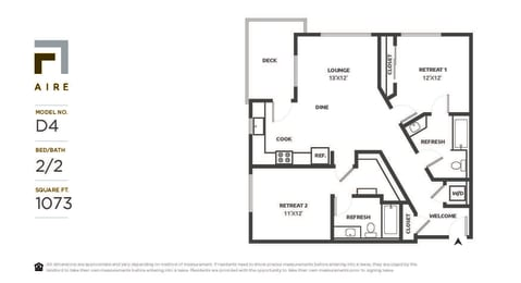 D4 Floor Plan at Aire, San Jose, CA, 95134