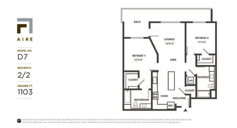 D7 Floor Plan at Aire, San Jose, California