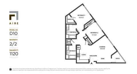 D10 Floor Plan at Aire, San Jose