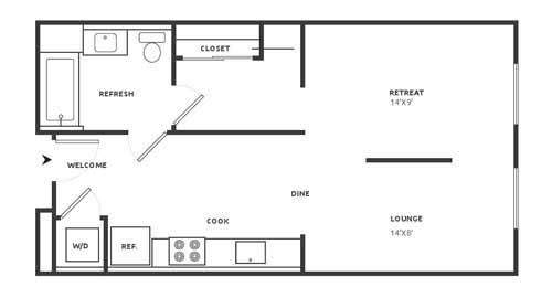 Studio 2 Floor Plan at Aire, California