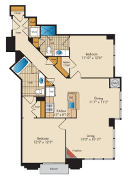 2 Bedroom 2AA Floor Plan at Highland Park at Columbia Heights Metro, Washington, Washington