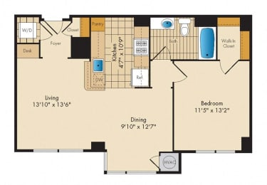 1 Bedroom 1G Floor Plan at Highland Park at Columbia Heights Metro, Washington, 20010