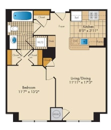1 Bedroom 1B Floor Plan at Highland Park at Columbia Heights Metro, Washington, DC