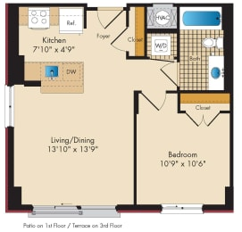1 Bedroom B1.1 Floor Plan at Highland Park at Columbia Heights Metro, Washington, DC, 20010
