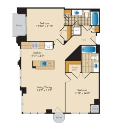 2 Bedroom 2C Floor Plan at Highland Park at Columbia Heights Metro, Washington, 20010