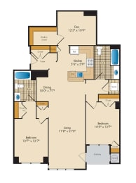 2 Bedroom with Den 2F-A Floor Plan at Highland Park at Columbia Heights Metro, Washington