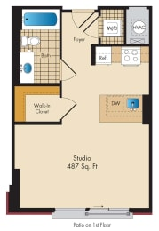 Studio A2 Floor Plan at Highland Park at Columbia Heights Metro, Washington, Washington
