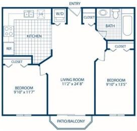 Floor Plan 2 Bedroom - 1 Bath