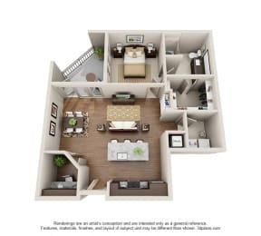 A7_1x1Den Floor Plan at ALARA Uptown, Texas