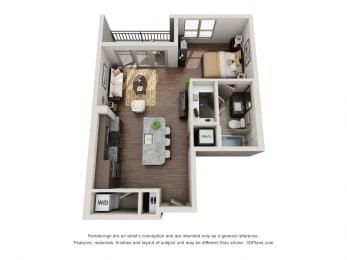 Studio Floor Plan  at ALARA Uptown, Texas