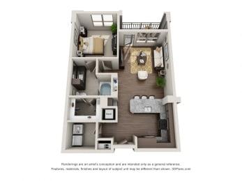 One Bedroom   One Bathroom Floor Plan at ALARA Uptown, Dallas, TX, 75204