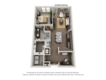 One Bedroom   One Bathroom Floor Plan at ALARA Uptown, Dallas, 75204