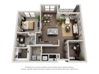 One Bedroom   One Bathroom Floor Plan at ALARA Uptown, Dallas, Texas
