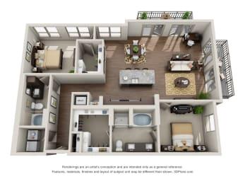 Two Bedroom   Two Bathroom Floor Plan  at ALARA Uptown, Dallas