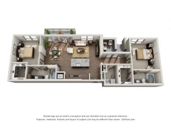 Two Bedroom   Two Bathroom Floor Plan at ALARA Uptown, Texas