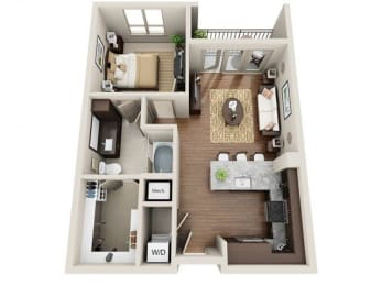 One Bedroom   One Bathroom Floor Plan at ALARA Uptown, Texas, 75204