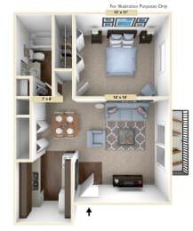 Timberland 1 Bedroom with 1 Bath Floor Plan at Woodland Place, Midland, MI
