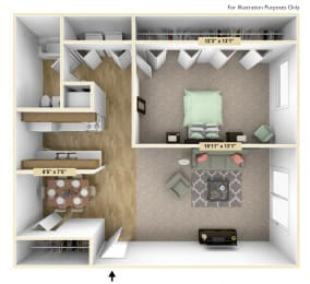 Buckingham One Bedroom Floor Plan at Windsor Place, Michigan, 48423