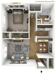 Coventry One Bedroom Floor Plan at Windsor Place, Davison, MI, 48423