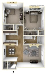 Coventry Two Bedroom Floor Plan at Windsor Place, Davison, 48423