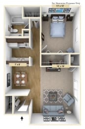 Devonshire One Bedroom Floor Plan at Windsor Place, Davison, Michigan